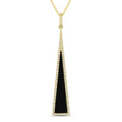 0.63ct Black Onyx & Diamond Pave Dangling Stiletto Pendant & Chain in 14k Yellow Gold - AM-DN4927