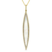 0.99ct Mother-of-Pearl & Diamond Pave Dangling Stiletto Pendant & Chain Necklace in 14k Yellow Gold - AM-DN4930