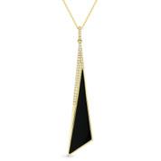 Black Onyx & 0.12ct Diamond Pave Dangling Stiletto Pendant & Chain in 14k Yellow Gold - AM-DN5000