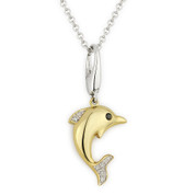 0.04ct Round Cut White & Black Diamond Dolphin Animal Charm Pendant & Chain Necklace in 14k Yellow & White Gold