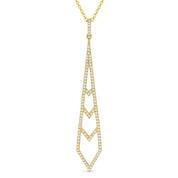 0.24ct Diamond Pave Dangling Stiletto Pendant & Chain in 14k Yellow Gold - AM-DN5052