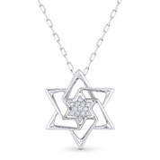 0.04ct Round Cut Diamond Star of David Pendant & Chain Necklace in 14k White Gold - AM-DP6132