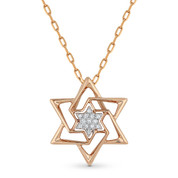 0.04ct Round Cut Diamond Star of David Pendant & Chain Necklace in 14k Rose Gold - AM-DP5084