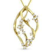 0.31ct Diamond Cluster Overlapping Vine Charm Pendant & Chain Necklace in 14k Yellow Gold - AM-DN4958