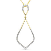 0.13ct Round Cut Diamond Pave Tear-Drop Pendant & Chain Necklace in 14k Yellow & White Gold - AM-DN4914