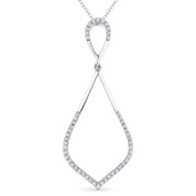 0.13ct Round Cut Diamond Pave Tear-Drop Pendant & Chain Necklace in 14k White Gold - AM-DN4915