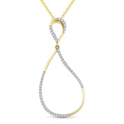 0.13ct Round Cut Diamond Pave Tear-Drop Pendant & Chain Necklace in 14k Yellow & White Gold - AM-DN4916