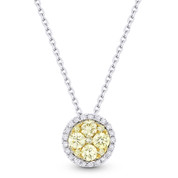 0.49ct Yellow & White Diamond Cluster Pendant in 18k Yellow & White Gold w/ 14k Chain Necklace - AM-DN5035