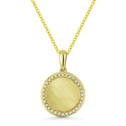 0.10ct Round Cut Diamond Brushed-Centerpiece Circle Pendant & Chain Necklace in 14k Yellow Gold - AM-DN5036