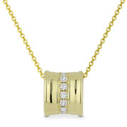 0.13ct Round Cut Diamond Sliding Pendant & Chain Necklace in 14k Yellow Gold - AM-DN5031