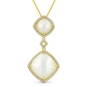 Checkerboard Mother-of-Pearl & 0.20ct Diamond Halo Pendant & Chain Necklace in 14k Yellow Gold - AM-DN5105