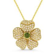 0.53 ct Green Tourmaline & Diamond Flower Charm Pendant & Chain in 14k Yellow Gold - AM-DN5150