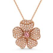 0.54ct Pink Tourmaline & Diamond Flower Charm Pendant & Chain in 14k Rose Gold - AM-DN5151