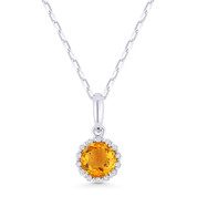 0.56ct Round Cut Citrine & Diamond Halo Pendant & Chain Necklace in 14k White Gold - AM-N1008CTW