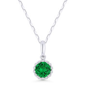 0.47ct Round Cut Green Spinel & Diamond Halo Pendant & Chain Necklace in 14k White Gold - AM-N1008GSW