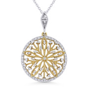 0.22ct ct Round Cut Diamond Flower Pendant & Chain Necklace in 14k Yellow & White Gold - AM-DN4341