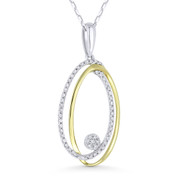 0.16ct Round Cut Diamond Pave Oval Stack Pendant & Chain Necklace in 14k White & Yellow Gold - AM-DN4572