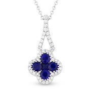 0.73ct Round & Princess Cut Sapphire & Diamond Pave Flower Charm Pendant & Chain Necklace in 14k White Gold