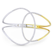 1.18ct Round Cut Diamond Pave Overlapping Open-Loop Bangle in 18k Yellow & White Gold - AM-DB3170
