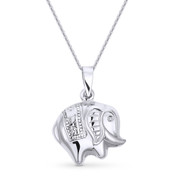 3D Elephant Animal Charm Pendant & Cable Link Chain Necklace in .925 Sterling Silver - ST-FP006-SLP