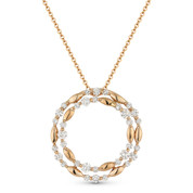 0.73 ct Diamond Cluster Double-Circle Pendant & Chain Necklace in 14k Rose Gold - AM-DN4889