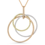 0.78 ct Round Cut Diamond Circle Stack Pendant & Chain Necklace in 14k Rose, Yellow, & White Gold - AM-DN4727