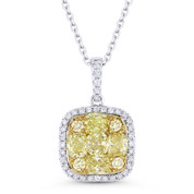 1.58ct Yellow & White Diamond Cluster Pendant in 18k Yellow & White Gold w/ 14k Chain Necklace - AM-DN4740