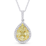 1.20 ct Yellow & White Diamond Cluster Pendant in 18k Yellow & White Gold w/ 14k Chain Necklace - AM-DN5033