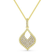0.22 ct Round Cut Diamond Pave Marquise-Shape Pendant & Chain Necklace in 14k Yellow Gold - AM-DN5072