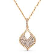 0.22 ct Round Cut Diamond Pave Marquise-Shape Pendant & Chain Necklace in 14k Rose Gold - AM-DN5073
