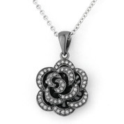 0.17ct Round Cut Diamond Rose Flower Charm Pendant in 14k Black Gold