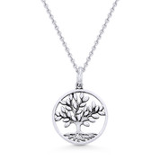 Antique-Finish Tree-of-Life Charm Pendant & Chain Necklace in Oxidized .925 Sterling Silver - ST-FP027-SLO