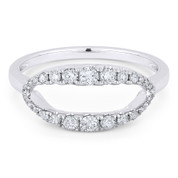 0.35ct Round Cut Diamond Open-Oval & Ball-Bead Band Right-Hand Ring in 14k White Gold - AM-R1129W