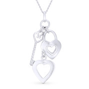 Heart, Lock, & Key Charm Pendant & Cable Chain Necklace in .925 Sterling Silver - ST-FP016-SLP