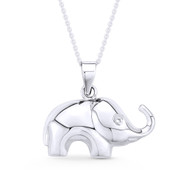 Elephant Animal Charm Pendant & Cable Link Chain Necklace in .925 Sterling Silver - ST-FP035-SLP