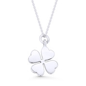4-Leaf Shamrock Irish Luck Charm Pendant & Cable Chain Necklace in .925 Sterling Silver - ST-FP038-SLP