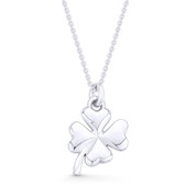 4-Leaf Shamrock Irish Luck Charm Pendant & Cable Chain Necklace in .925 Sterling Silver - ST-FP039-SLP