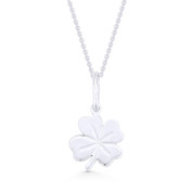 4-Leaf Shamrock Irish Luck Charm Pendant & Cable Chain Necklace in .925 Sterling Silver - ST-FP040-SLP