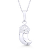 Italian Horn w/ Royal Crown Luck Charm Pendant & Chain Necklace in .925 Sterling Silver - ST-FP042-SLP