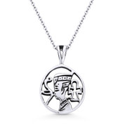 Egyptian Pharaoh, Snake, & Ankh Charm Pendant & Chain Necklace in Oxidized .925 Sterling Silver - ST-FP055-SLO