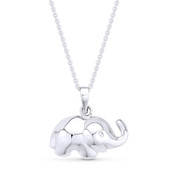3D Baby Elephant Animal Charm Pendant & Cable Link Chain Necklace in .925 Sterling Silver - ST-FP056-SLP