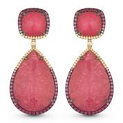 Pink Tourmaline, Pink Sapphire, & Diamond Dangling Earrings in 14k Rose & Black Gold - AM-DE11012