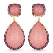 Pink Sapphire & Diamond Dangling Earrings in 14k Rose & Black Gold - AM-DE11013