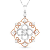 0.42ct Round Cut Diamond Vintage-Style Pendant & Chain in 14k Rose & White Gold - AM-DN4600