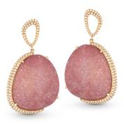 Pink Sapphire & Diamond Dangling Earrings in 14k Rose Gold - AM-DE10999