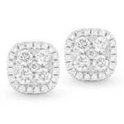 Round Brilliant Cut Diamond Pave Cluster & Halo Stud Earrings in 14k White Gold - AM-DE10600
