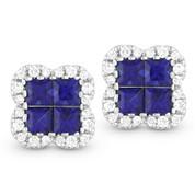 Inivisible-Set Blue Sapphire & Diamond Stud Earrings in 14k White Gold - AM-DE10734