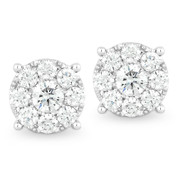 Round Brilliant Cut Diamond Cluster Stud Earrings in 14k White Gold - AM-DE9204