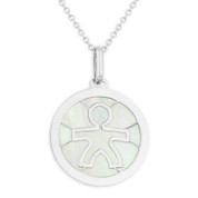 It's A Boy Mother of Pearl Baby/Child-Celebration Charm Pendant in 14k White Gold