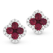 0.57ct Round & Princess Cut Ruby & Diamond Pave Flower Stud Earrings in 14k White Gold - AM-DE10499